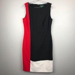 Lauren Ralph Lauren Color-block Sheath Dress SZ 6